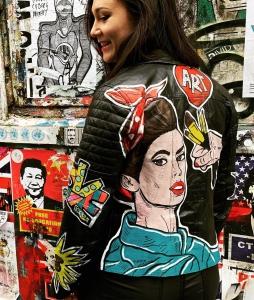Leren jas beschilderd pop art