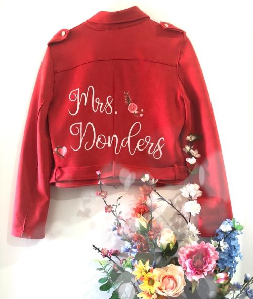 Beschilderd jasje bruiloft met naam