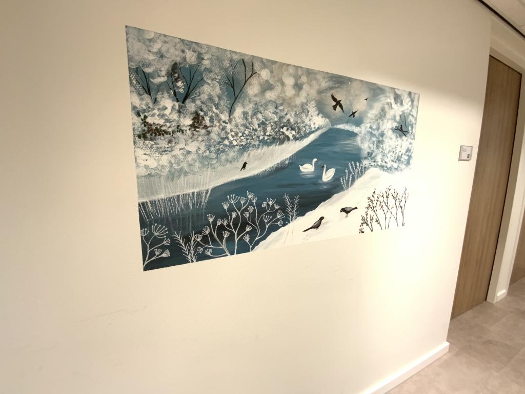 Muurschildering kader winterlandschap