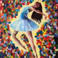 Abstract schilderij ballerina