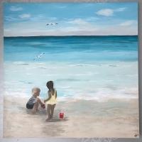 Schilderij kinderen zee
