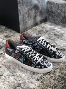 Custom leren sneakers mannen